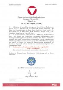 Bekanntmachung Bundesheer